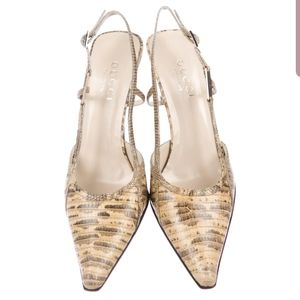 Gucci Snakeskin Pointed-Toe Pumps / Heels